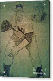 Acrylic Print featuring the drawing Joe Nuxhall by Christy Saunders Church