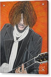 Joe Perry On Guitar Acrylic Print by Jeepee Aero
