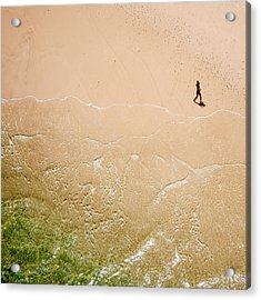 Jogger On Tallow Beach. Byron Bay. Australia. Acrylic Print
