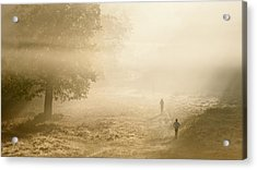 Joggers In Richmond Park London On A Crisp Foggy Autumn Morning Acrylic Print by Matthew Gibson