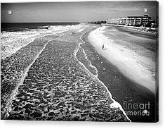 Jogging At Folly Beach Acrylic Print by John Rizzuto