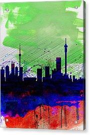 Johannesburg Watercolor Skyline Acrylic Print by Naxart Studio