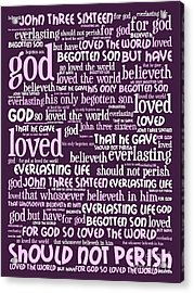 John 3-16 For God So Loved The World 20130622bwma Vertical Acrylic Print by Wingsdomain Art and Photography