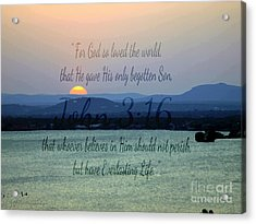 John 3 16 Lake Sunset Acrylic Print