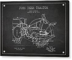 John Deer Tractor Patent Drawing From 1933 Acrylic Print