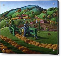 Rustic John Deere Farm Tractor Baling Hay - Rural Country Folk Art Landscape - Summer Americana Acrylic Print by Walt Curlee