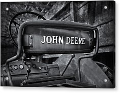John Deere Tractor Bw Acrylic Print by Susan Candelario