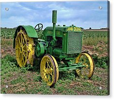 John Deere Tractor Hdr Acrylic Print by Ken Smith