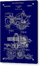John Deere Tractor Patent 1933 Acrylic Print by Mountain Dreams