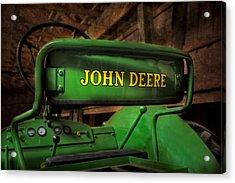 John Deere Tractor Acrylic Print by Susan Candelario