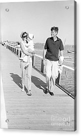 John F. Kennedy And Jacqueline Kennedy At Hyannis Port Marina Acrylic Print by The Harrington Collection