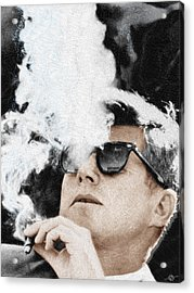 John F Kennedy Cigar And Sunglasses Acrylic Print by Tony Rubino