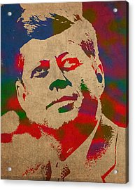 John F Kennedy Jfk Watercolor Portrait On Worn Distressed Canvas Acrylic Print by Design Turnpike