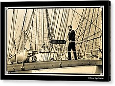 John F Kennedy On Coast Guard Eagle Acrylic Print