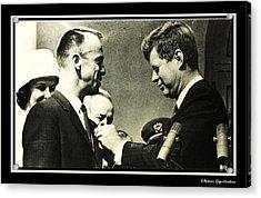 John F Kennedy With Astronaut Alan B Shepard Jr Acrylic Print