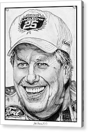 Acrylic Print featuring the drawing John Force In 2010 by J McCombie