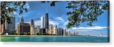 John Hancock Chicago Skyline Panorama Acrylic Print by Christopher Arndt
