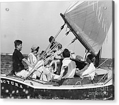 John Kennedy With Robert And Jacqueline Sailing Acrylic Print by The Harrington Collection