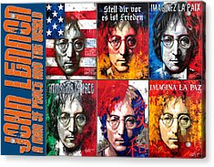 John Lennon - A Man Of Peace And The World. A Collage Acrylic Print by Vitaliy Shcherbak