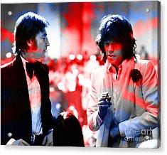 John Lennon And Mick Jagger Painting Acrylic Print by Marvin Blaine