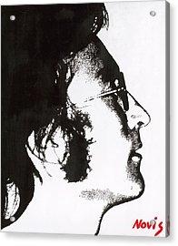 John Lennon Bw Acrylic Print by Barry Novis