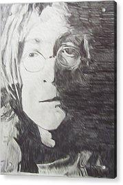 John Lennon Pencil Acrylic Print by Jimi Bush