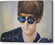 John Lennon-reflections Imagine Acrylic Print by Anne Provost