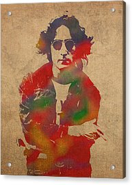 John Lennon Watercolor Portrait On Worn Distressed Canvas Acrylic Print by Design Turnpike