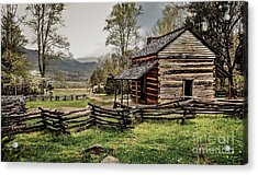 Acrylic Print featuring the photograph John Oliver's Cabin In Spring. by Debbie Green