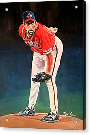 John Smoltz - Atlanta Braves Acrylic Print by Michael  Pattison