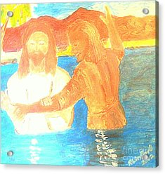 John The Baptist Baptizing Jesus In River Jordan By Immersion Acrylic Print by Richard W Linford