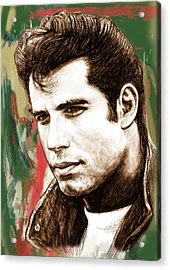 John Travolta - Stylised Drawing Art Poster Acrylic Print by Kim Wang
