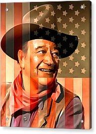 John Wayne American Cowboy Acrylic Print by Dan Sproul