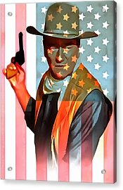 John Wayne American Icon Acrylic Print by Dan Sproul