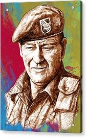 John Wayne Stylised Pop Art Drawing Potrait Poser Acrylic Print by Kim Wang