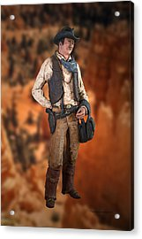 John Wayne The Cowboy Acrylic Print by Thomas Woolworth