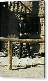 Acrylic Print featuring the photograph Johnny Cash Gunfighter Hitching Post Old Tucson Arizona 1971 by David Lee Guss