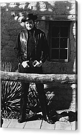 Acrylic Print featuring the photograph Johnny Cash Gunslinger Hitching Post Old Tucson Arizona 1971  by David Lee Guss