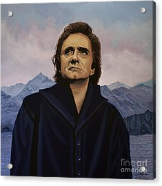 Johnny Cash Painting Acrylic Print by Paul Meijering