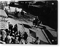 Acrylic Print featuring the photograph Johnny Cash Riding Horse Filming Promo Main Street Old Tucson Arizona 1971 by David Lee Guss