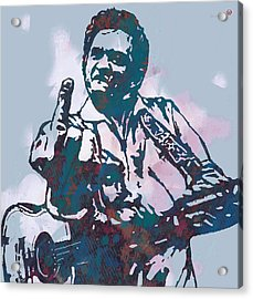 Johnny Cash - Stylised Etching Pop Art Poster Acrylic Print by Kim Wang