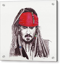 Johnny Depp As Jack Sparrow Acrylic Print by Martin Howard
