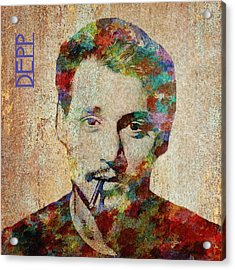 Johnny Depp Watercolor Splashes Acrylic Print