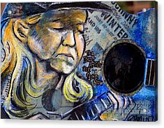 Johnny Winter Painted Guitar Acrylic Print by Fiona Kennard