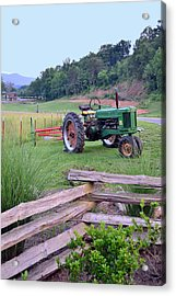 John's Green Tractor Acrylic Print by Larry Bishop