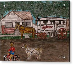 Acrylic Print featuring the painting Johnsons Milk Wagon Pulled By A Horse  by Kathy Marrs Chandler
