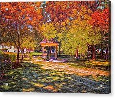 Join Me In The Gazebo On This Beautiful Autumn Day Acrylic Print by Thomas Woolworth