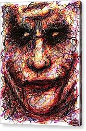 Joker - Face II Acrylic Print by Rachel Scott