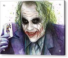 Joker Watercolor Portrait Acrylic Print by Olga Shvartsur