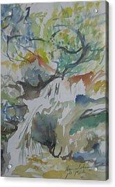 Jordan River Waterfall Acrylic Print by Esther Newman-Cohen